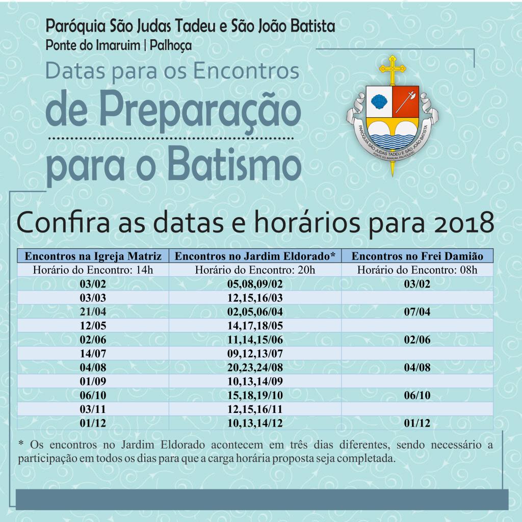 Datas para a Preparação de Batismo 2018